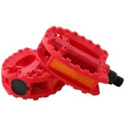 pédales plastiques rouge